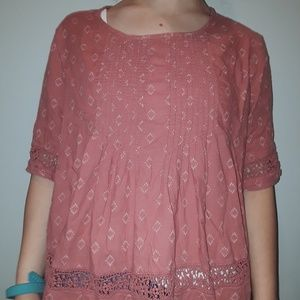 Old Navy Pink Patterned Blouse